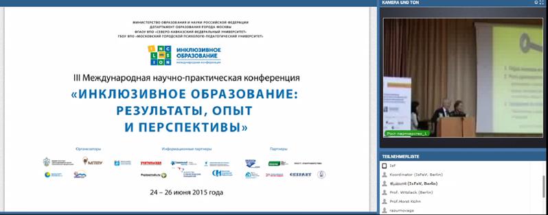 Videoübertragung von der Konferenz