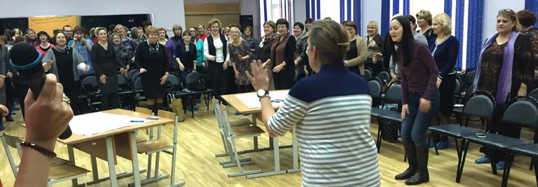 Moskauer Lehrer beim Vortrag von Birgit Danicke